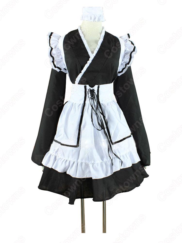 メイド服 コスプレ衣装 和風メイド衣装 ハロウィン 文化祭 体育祭 改良メイド服 0