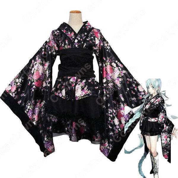 極楽浄土 コスプレ衣装 桜柄和服 ロリータ風洋服元の画像