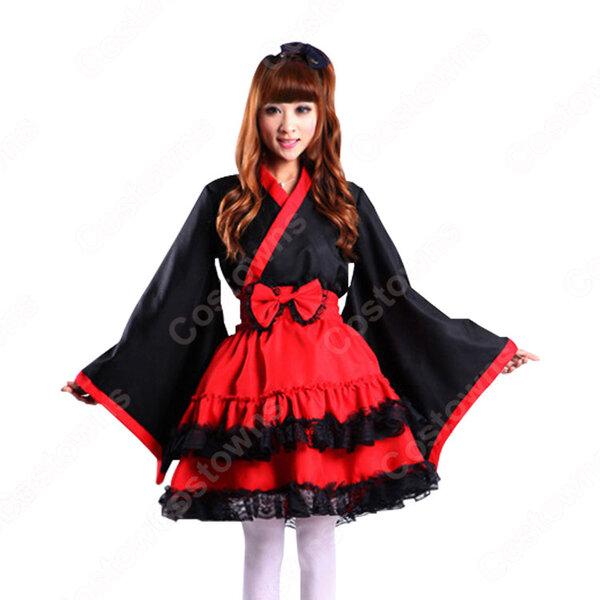 和風ワンピース コスプレ衣装 ロリータ風スカート 夏祭り浴衣 ミニ着物 和服元の画像