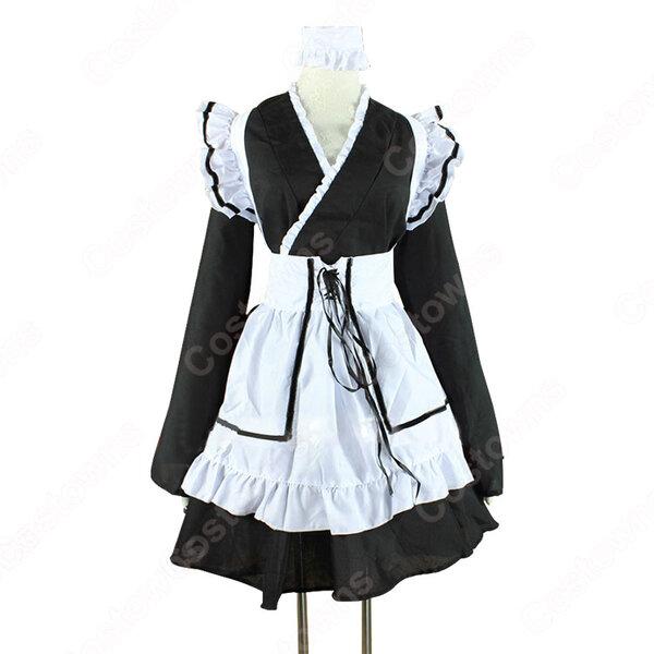 メイド服 コスプレ衣装 和風メイド衣装 ハロウィン 文化祭 体育祭 改良メイド服元の画像