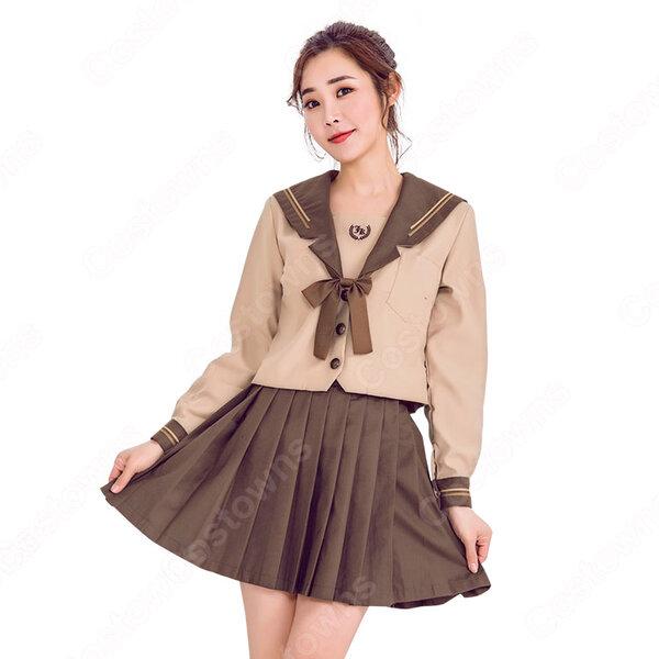 制服 コスプレ衣装 文化祭 体育祭 日本高校制服 ユニフォーム 茶色 セーラー服元の画像