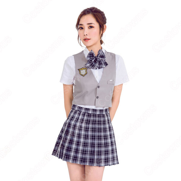 高校制服 コスプレ衣装 文化祭 体育祭 日本韓国高校制服 ユニフォーム チェック柄元の画像