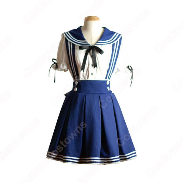 学園制服 コスプレ衣装 文化祭 体育祭 ロリータ風スカート ユニフォーム 半袖 コスチューム元の画像