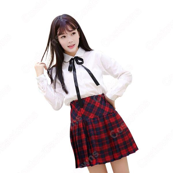 学園制服 コスプレ衣装 文化祭 体育祭 日本韓国高校制服 チェック柄スカート ユニフォーム コスチューム元の画像