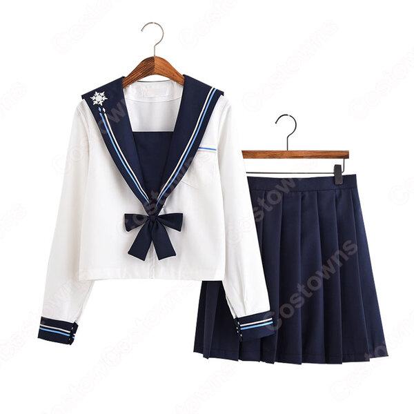 学園制服 コスプレ衣装 文化祭 体育祭 ユニフォーム コスチューム セーラー服 長めのスカート元の画像