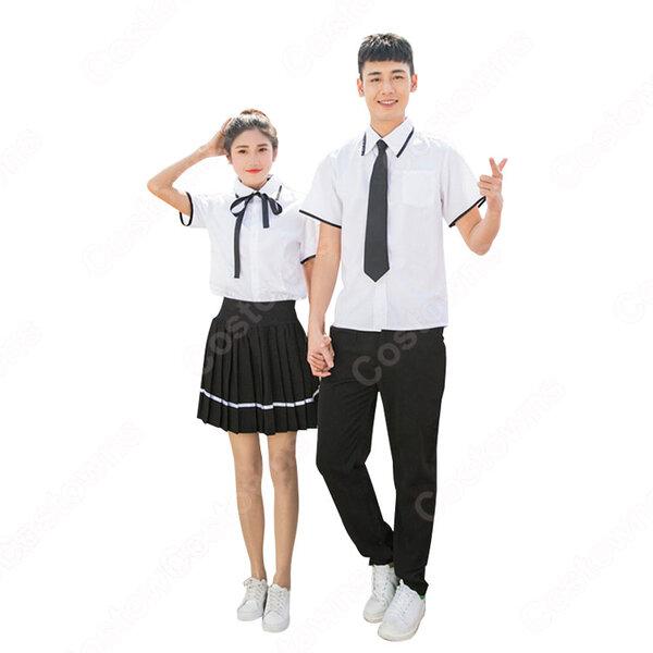 学園制服 コスプレ衣装 文化祭 体育祭 ユニフォーム コスチューム 男女制服上下セット元の画像