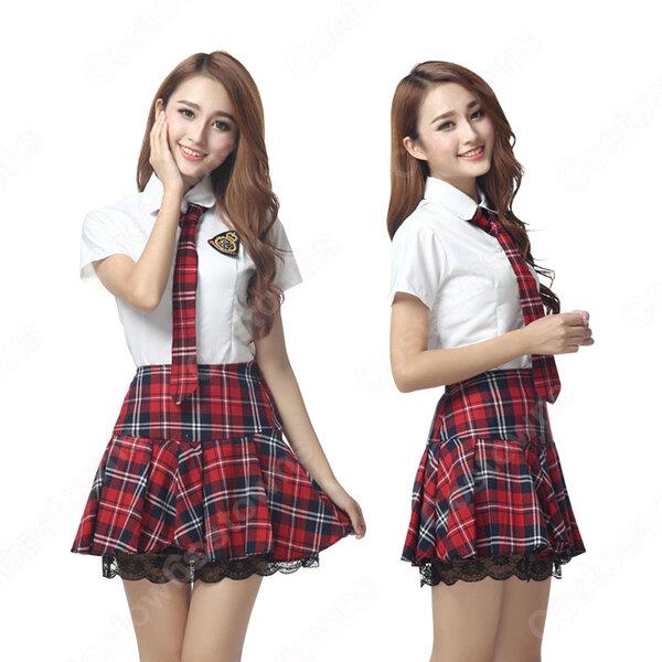 学院制服 コスプレ衣装 文化祭 体育祭 ユニフォーム コスチューム 欧米日本韓国学生制服 チェック柄スカート 制服上下セット COT-A00428元の画像