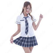 学院制服 コスプレ衣装 文化祭 体育祭 ユニフォーム コスチューム 欧米日本韓国学生制服 チェック柄スカート 制服上下セット COT-A00429