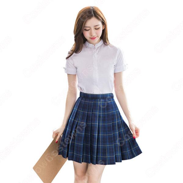 学院風制服 コスプレ衣装 文化祭 体育祭 ユニフォーム コスチューム 欧米日本韓国学生制服 学校制服 チェック柄スカート 上下セット元の画像