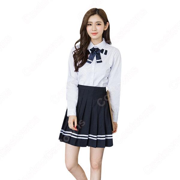 学院風制服 コスプレ衣装 文化祭 体育祭 ユニフォーム コスチューム 欧米日本韓国学生制服 学校制服 上下セット元の画像