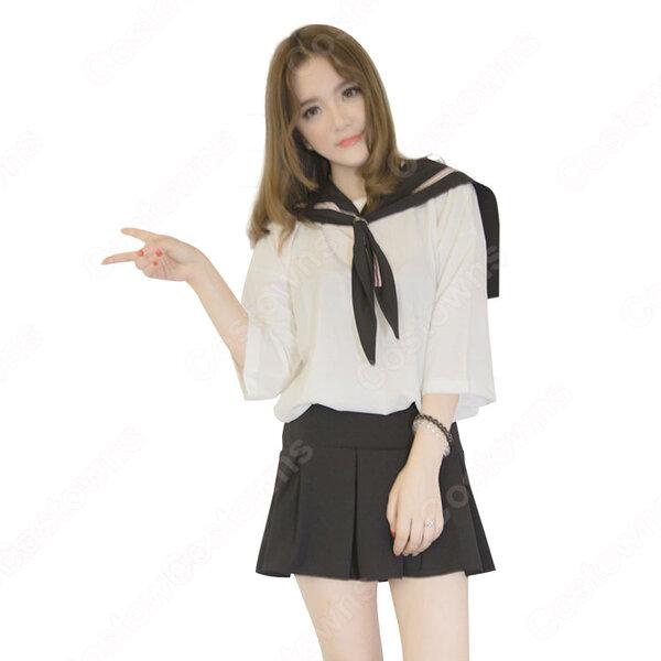 学院制服 コスプレ衣装 文化祭 体育祭 ユニフォーム コスチューム 欧米日本韓国学生制服 改良セーラー服 制服上下セット元の画像