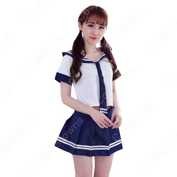 学園制服 コスプレ衣装 文化祭 体育祭 ユニフォーム コスチューム 日本韓国学生制服 セクシー セーラー服 お腹出し元の画像