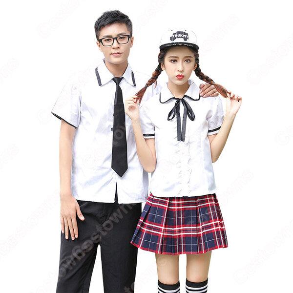 学院風制服 コスプレ衣装 文化祭 体育祭 ユニフォーム コスチューム 欧米日本韓国学生制服 チェック柄スカート 制服男女上下セット元の画像