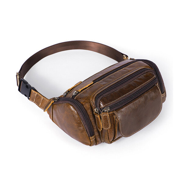 Whatna 牛革 ウエストポーチ ウエストバッグ メンズ レディース 男女兼用 斜めがけ ボディバッグ ワンショルダー 本革 軽量 黒 ブラウン 8355元の画像
