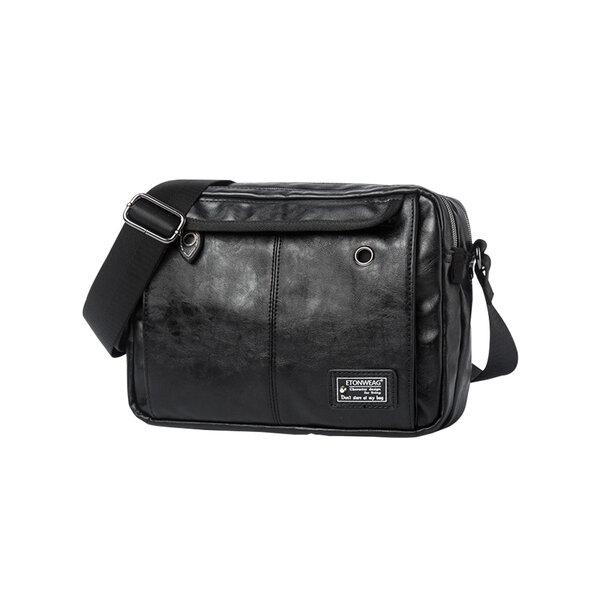 Whatna ショルダーバッグ メンズ 革 メッセンジャー ビジネスバッグ iPad収納 横型 斜めがけ人気型 耐久性 軽量通学 通勤鞄 カジュアル兼用 軽量 実用 自転車 かばん男性用 黒(1015)元の画像