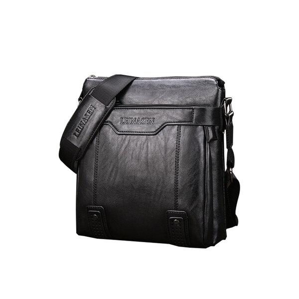 whatna ショルダーバッグ メンズ ポシェット メッセンジャーバッグ 斜め掛け 皮 革 人気型 耐久性 縦型 iPad 収納通学 通勤鞄 軽量 実用 自転車 ビジネスバッグ かばん男性用 黒 ブラック ブラウン(15036)元の画像