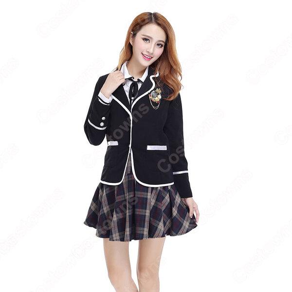 学院風制服 コスプレ衣装 文化祭 体育祭 ユニフォーム コスチューム 欧米日本韓国学生制服 学校制服 チェック柄スカート 制服上下4点セット元の画像
