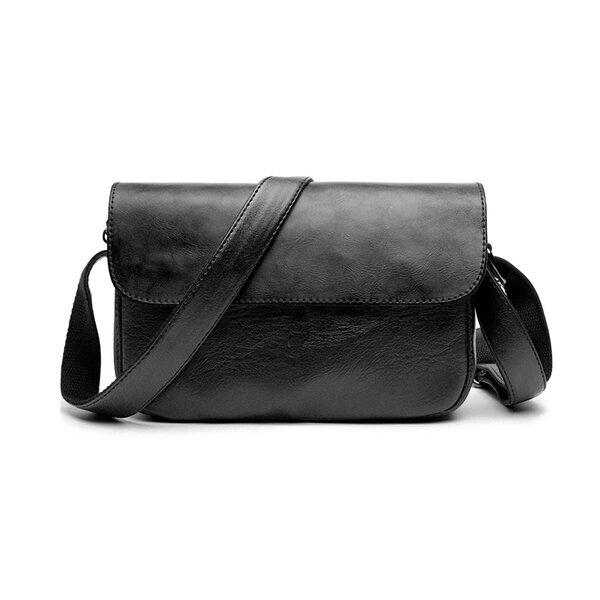Whatna フラップ ミニショルダーバッグ メンズ ポシェット 横型 ショルダーミニポーチ 革 軽量 小型 小さめメッセンジャーバッグ斜め掛け ビジネス 通勤鞄 (5209)元の画像