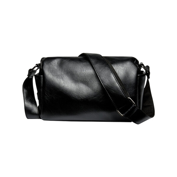 Whatna ミニショルダーバッグ 横型 メンズ ポシェット ショルダーミニポーチ 革 軽量 小型 人気型 耐久性 小さめメッセンジャーバッグ斜め掛け ビジネス 通学 通勤鞄 軽量 実用 自転車 かばん男性用 黒 (2025)元の画像