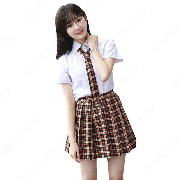 学院風制服 コスプレ衣装 文化祭 体育祭 ユニフォーム コスチューム 欧米日本韓国学生制服 チェック柄スカート 学校制服 上下セット元の画像