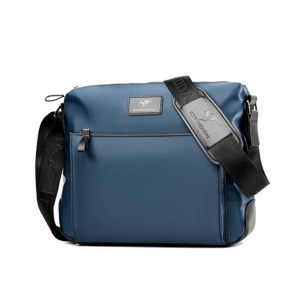 Whatna ショルダーバッグ メンズ メッセンジャーバッグ 横型 A4 14インチまで対応 オックスフォード布 防水 耐磨耗 ビジネスバッグ 小さい 斜めがけ バッグ 男性用 紳士用 黒 ブルー(6605#)元の画像