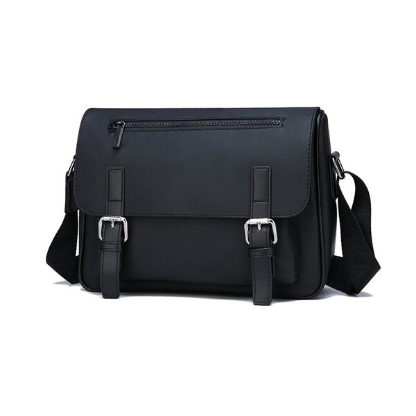 Whatna フラップ ショルダーバッグ メンズ メッセンジャーバッグ 横型 A4 高密度ナイロン オックスフォード布 防水 耐磨耗 ビジネスバッグ 小さい 斜めがけ バッグ 男性用 紳士用 黒 ブルー(7918#)元の画像