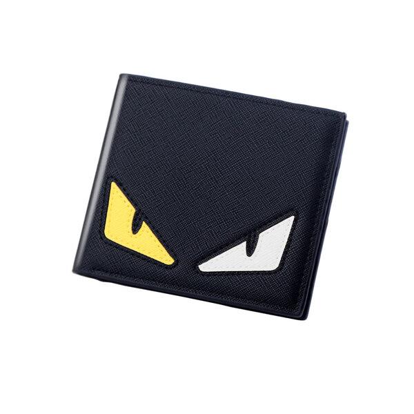 whatna メンズ 財布 二つ折り 薄い 本 革 黒 全三色 023元の画像