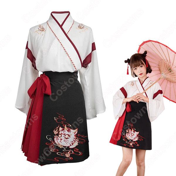 漢服 コスプレ衣装 中国伝統衣装 古風 可愛い ハロウィン 学園祭 おしゃれコス服 猫刺繍 合わせえり 日常ミニスカート元の画像