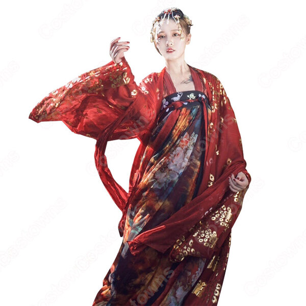 漢服 襦裙 コスプレ衣装 中国伝統衣装 古風 可愛い ハロウィン 学園祭 パーティー おしゃれコス服 花柄 赤漢服元の画像