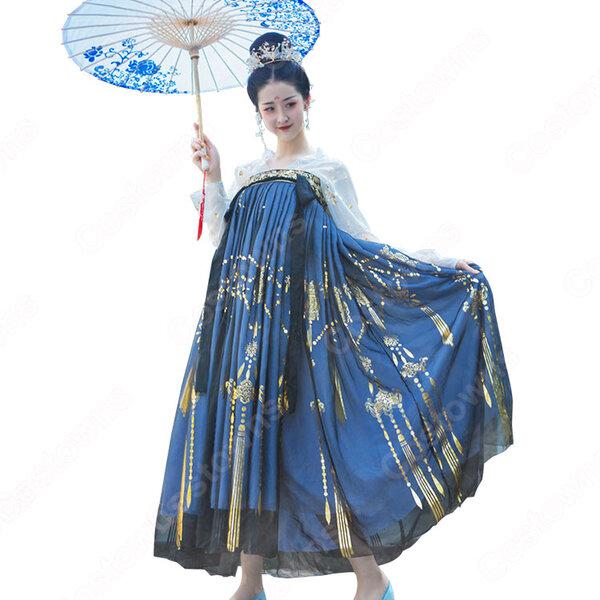 漢服 襦裙 コスプレ衣装 中国伝統衣装 古風 可愛い 中国時代劇 学園祭 パーティー 鶴 おしゃれコス服 披帛付き元の画像