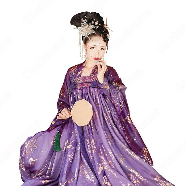 漢服 襦裙 コスプレ衣装 中国伝統衣装 古風 可愛い 中国時代劇 学園祭 パーティー 鶴 おしゃれコス服 紫 パープル 広袖元の画像