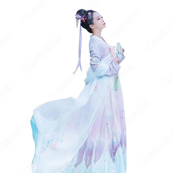 漢服 襦裙 コスプレ衣装 中国伝統衣装 古風 可愛い ハロウィン 学園祭 パーティー 中国時代劇 おしゃれコス服 披帛付き元の画像