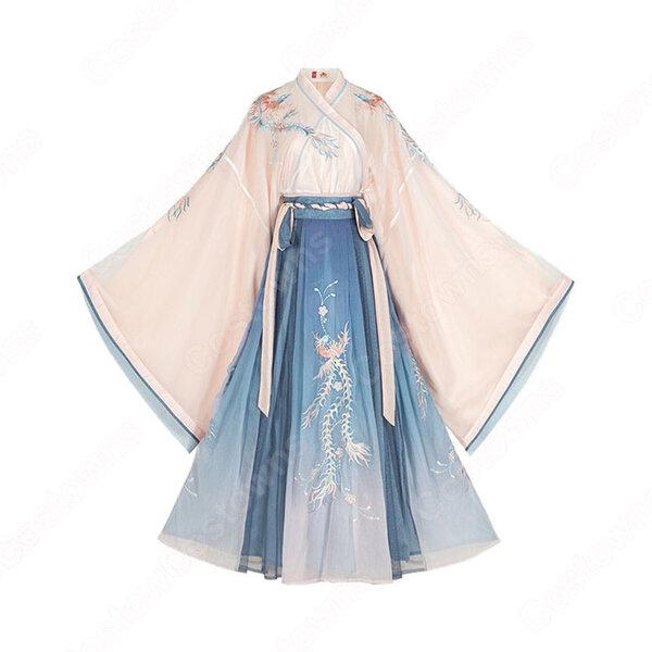 漢服 襦裙 コスプレ衣装 中国伝統衣装 古風 可愛い 中国時代劇 鳳凰刺繍 学園祭 お花見 おしゃれコス服元の画像
