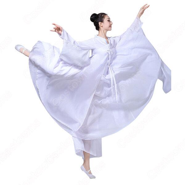 漢服 コスプレ衣装 中華風 古典ダンス衣装 赤白二色 学園祭 おしゃれコス服 学園祭文化祭 演出服 ダンスウェア 古典楽器吹奏衣装元の画像