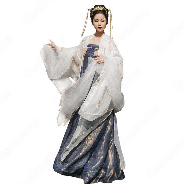 漢服 襦裙 コスプレ衣装 中国伝統衣装 古風 可愛い 中国時代劇 学園祭 パーティー 演出服 おしゃれコス服 羽刺繍付き元の画像
