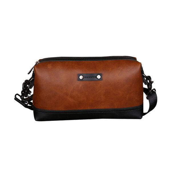 Whatna 2way ショルダーバッグ メンズ バッグ セカンド バッグ 小さめ iPad mini収納可 合成皮革 斜めがけ バッグ 男性用 紳士用 ブラウン(JX8007)元の画像