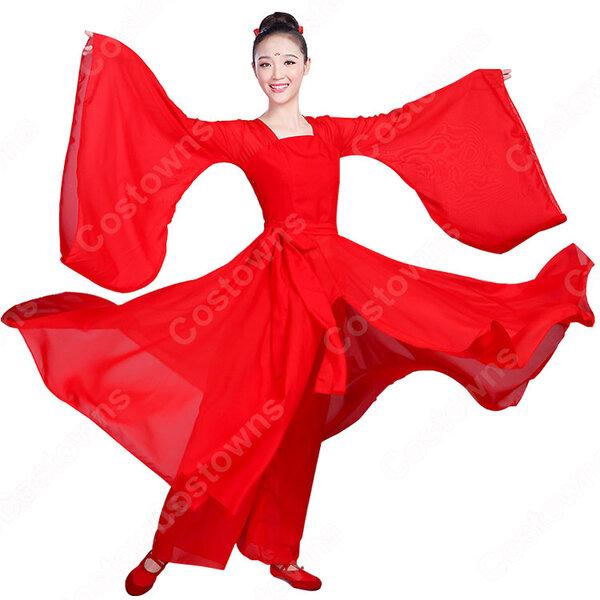 漢服 コスプレ衣装 涼涼演出服 中華風 古典ダンス衣装 赤白二色 学園祭 おしゃれコス服 学園祭文化祭 演出服 ダンスウェア 古典楽器吹奏衣装元の画像