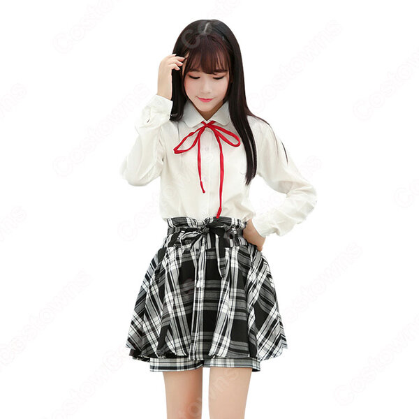 学園制服 コスプレ衣装 文化祭 体育祭 ユニフォーム コスチューム 欧米日本韓国風学校制服 日常着 チェック柄スカートパンツ 日常服元の画像