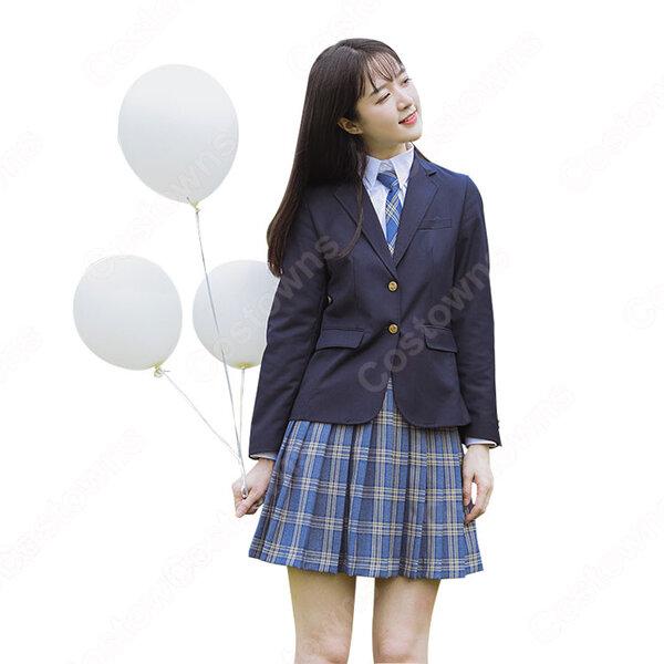 学校制服 コスプレ衣装 日本韓国風学生制服 学園祭 体育祭 コスチューム ユニフォーム チェック柄 大きいサイズ元の画像