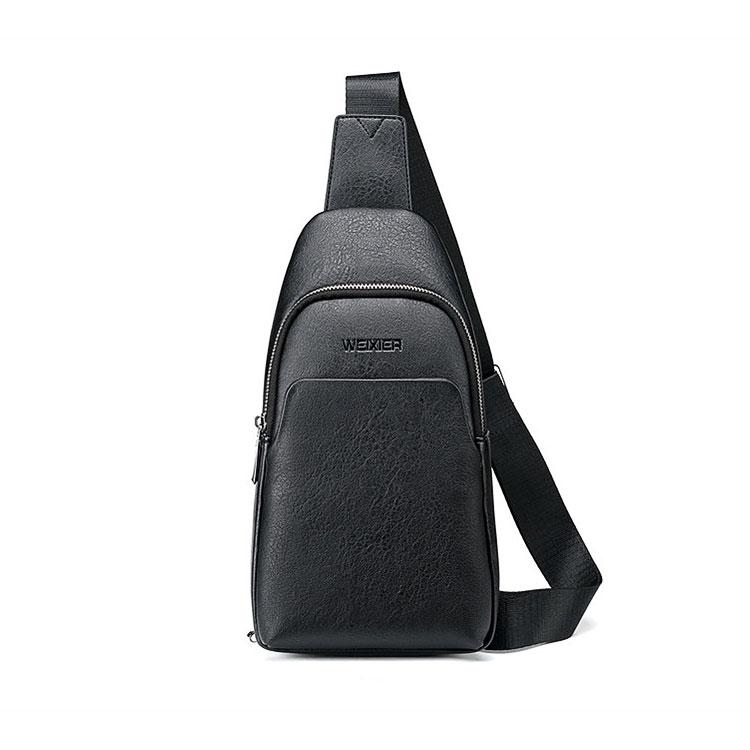 Whatna 斜めがけ ボディバッグ ワンショルダー メンズ イヤホン穴付き 本 革 厚手 レザー 黒 グレー 9505