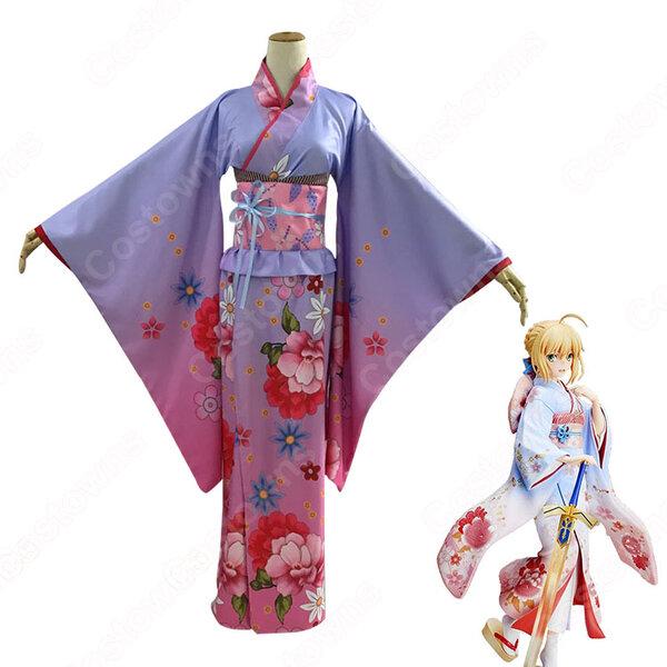セイバー コスプレ衣装 【Fate/stay night】 アルトリア・ペンドラゴン 晴着ver 和服 振り袖、夏祭り元の画像