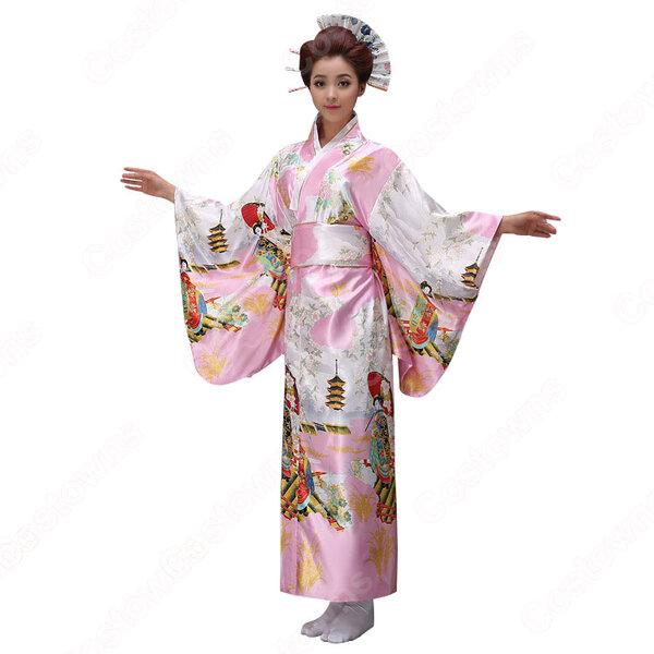 女性浴衣 和服 着物 日本伝統服 舞台衣装 コスプレ衣装 コスチューム 写真撮影 演出服 COT-A00542元の画像