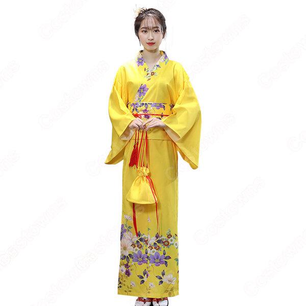 女性浴衣 和服 着物 日本伝統服 舞台衣装 コスプレ衣装 コスチューム 写真撮影 演出服 改良タイプ COT-A00549元の画像