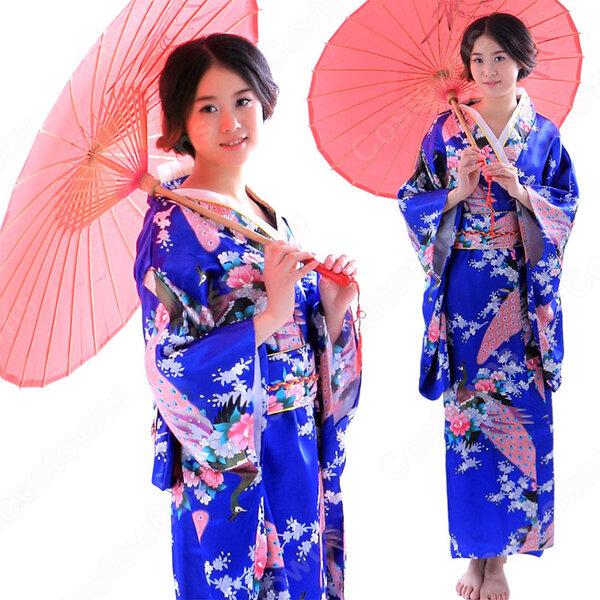 女性浴衣 和服 着物 日本伝統服 舞台衣装 コスプレ衣装 コスチューム 写真撮影 演出服 孔雀柄元の画像