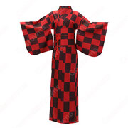 女性浴衣 和服 着物 日本伝統服 舞台衣装 コスプレ衣装 コスチューム 写真撮影 演出服 チェック柄 市松文様柄
