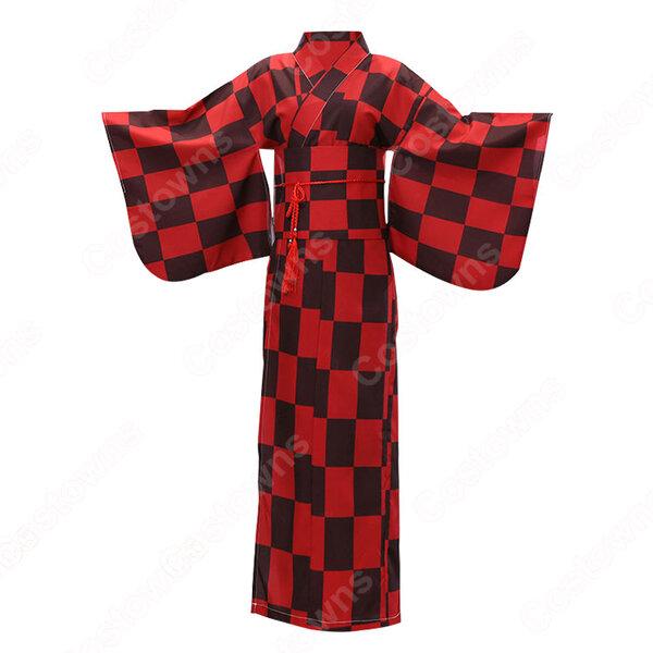 女性浴衣 和服 着物 日本伝統服 舞台衣装 コスプレ衣装 コスチューム 写真撮影 演出服 チェック柄 市松文様柄元の画像