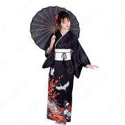 女性浴衣 和服 着物 日本伝統服 舞台衣装 コスプレ衣装 コスチューム 写真撮影 演出服 鶴柄