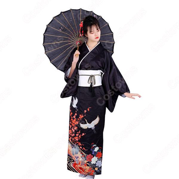 女性浴衣 和服 着物 日本伝統服 舞台衣装 コスプレ衣装 コスチューム 写真撮影 演出服 鶴柄元の画像