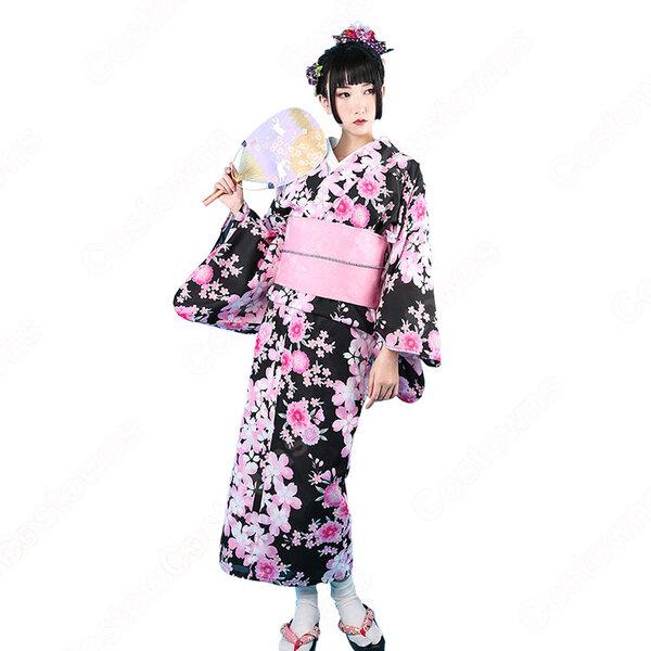 女性浴衣 和服 着物 日本伝統服 舞台衣装 コスプレ衣装 コスチューム 写真撮影 演出服 桜柄 COT-A00557元の画像