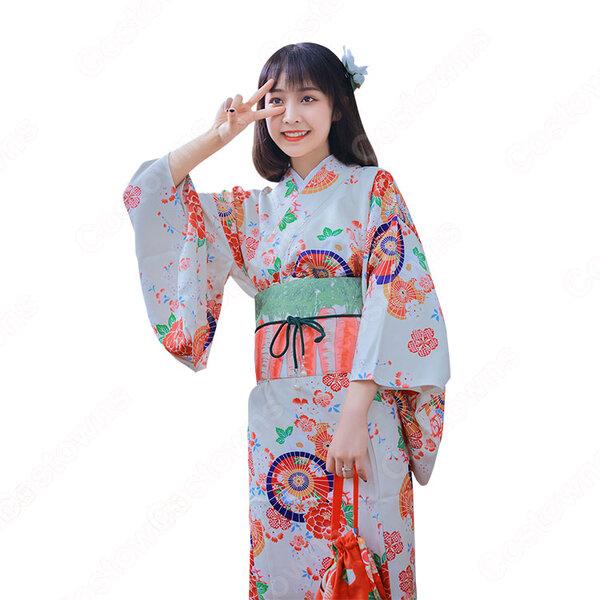 女性浴衣 和服 着物 日本伝統服 舞台衣装 コスプレ衣装 コスチューム 写真撮影 演出服 傘柄 花柄元の画像